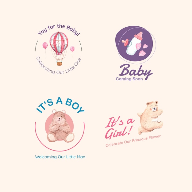 Logo con il concetto di design di baby shower per marchio e marketing illustrazione vettoriale dell'acquerello. Vettore gratuito