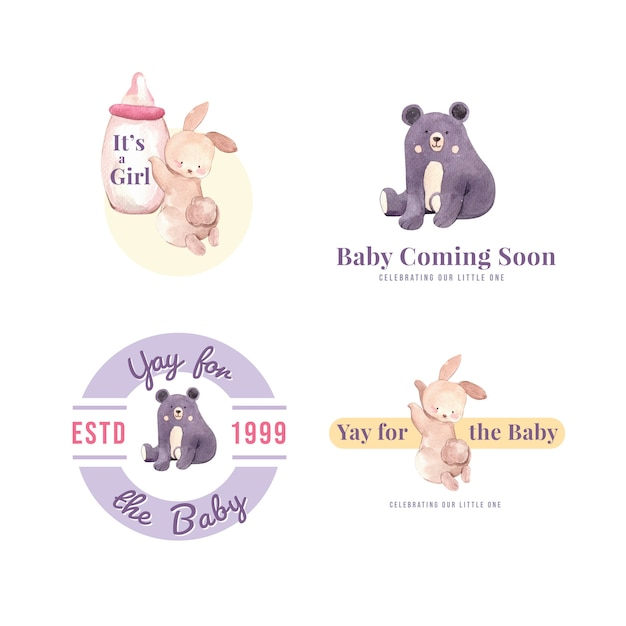 Logo with baby shower design concept for brand and marketing watercolor vector illustration. Free Vector