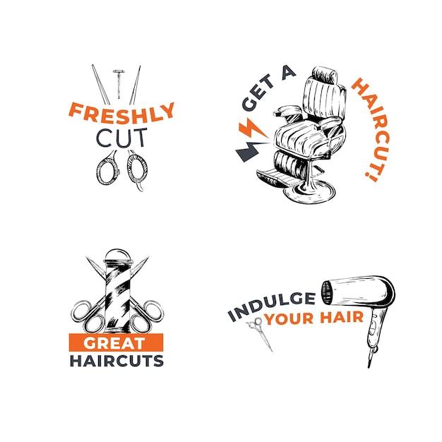 Logo con barbiere concept design per il branding. Vettore gratuito