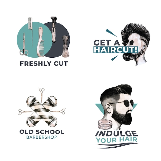 Logo with barber concept design for branding. Free Vector