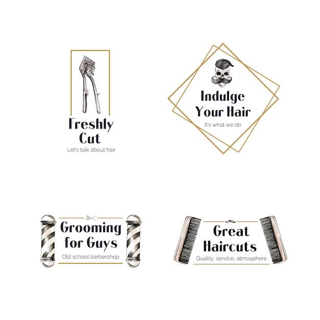 ブランディングのための理髪店のコンセプトデザインのロゴ。 無料ベクター
