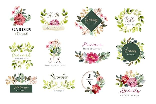Логотип с красивой цветочной и листвой акварельной коллекцией Premium векторы