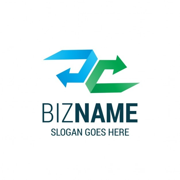 Logo with a blue arrow and a green arrow Free Vector