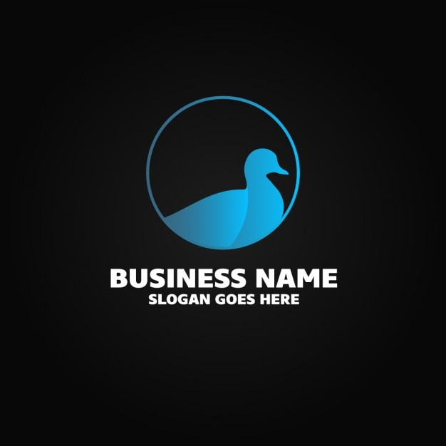 Logo with a blue duck Free Vector