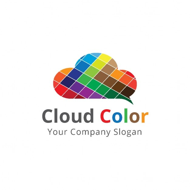 Logo with a cloud made with colorful squares Free Vector