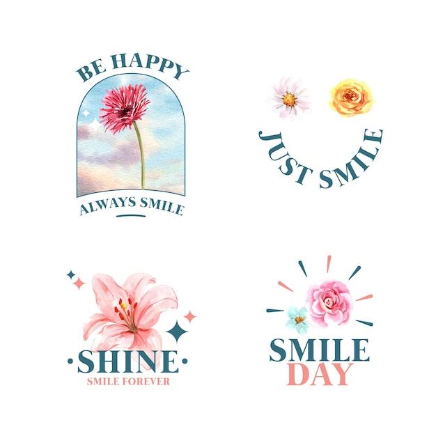 브랜딩 및 마케팅 수채화 벡터 illustraion에 세계 미소의 날 개념에 대 한 꽃 꽃다발 디자인 로고. 무료 벡터