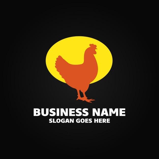 Logo with a hen Free Vector