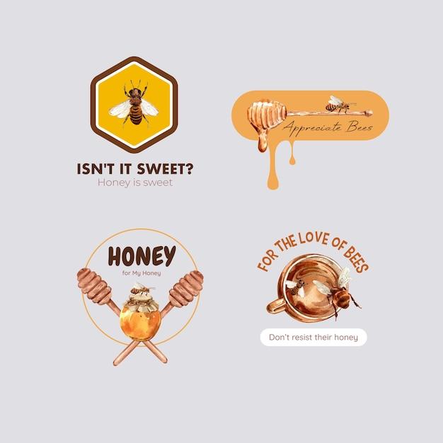 Logo con miele per branding e marketing acquerello Vettore gratuito