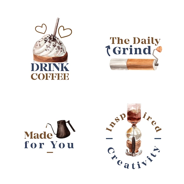 Logo with international coffee day concept design for branding and marketing watercolor Free Vector