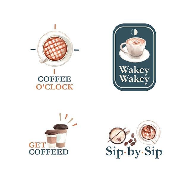 Logo con concept design della giornata internazionale del caffè per il branding e il marketing acquerello Vettore gratuito