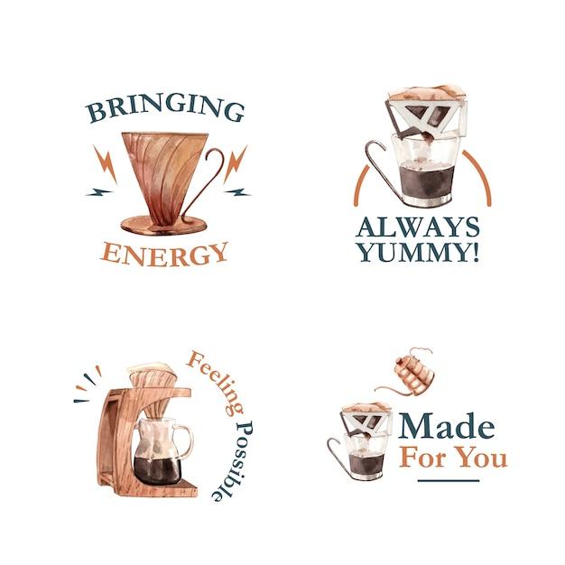Логотип с концептуальным дизайном международного дня кофе для брендинга и маркетинговой акварели Бесплатные векторы