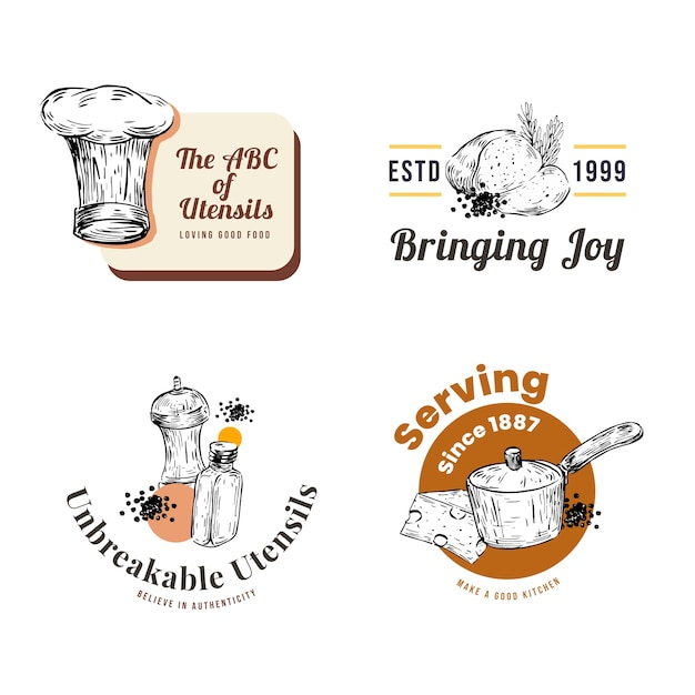 Free Vector Logo With Kitchen Appliances Concept Design For Branding And Marketing Vector Illustration