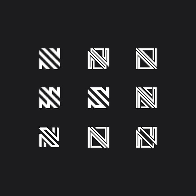 Logo with letter n collection Premium Vector