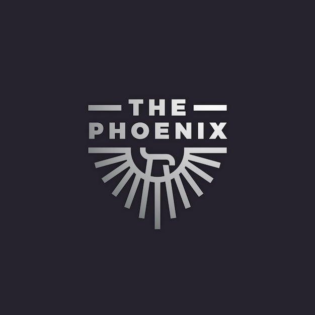 Logo with phoenix Premium Vector