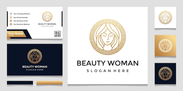 A logo with a pretty face line art style and a business card design. design concept for beauty salon, massage, cosmetics,spa. Premium Vector