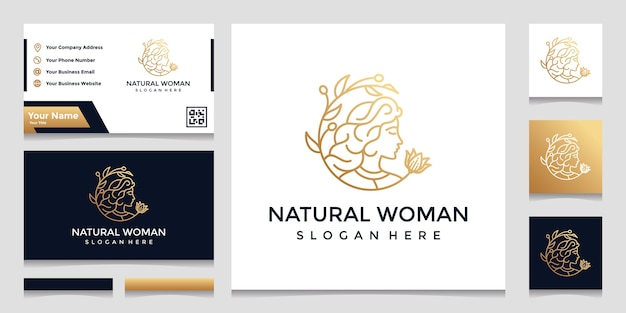 A logo with a pretty face line art style and a business card design. design concept for beauty salon, massage, cosmetics. Premium Vector