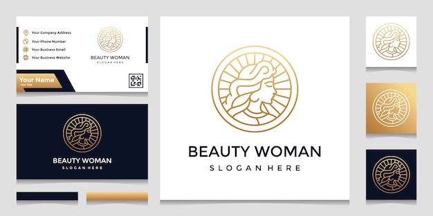 A logo with a pretty face line art style and a business card design. design concept for beauty salons Premium Vector