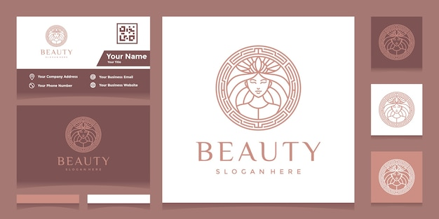 Logo with pretty face line art style and crown with business card Premium Vector