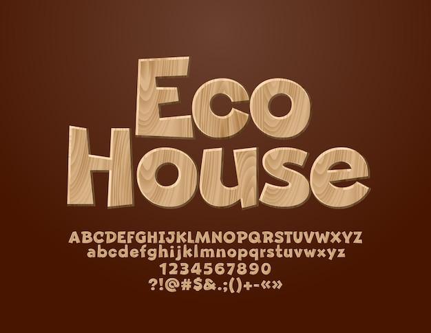 Логотип с текстом eco house. деревянный текстурированный шрифт. набор букв алфавита, цифр и символов. Premium векторы
