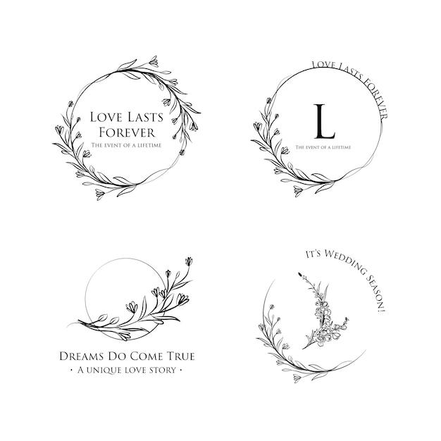 Logo con cerimonia di matrimonio per il marchio e l'icona Vettore gratuito
