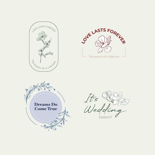ブランディングとアイコンのベクトルイラストの結婚式のコンセプトデザインのロゴ。 無料ベクター