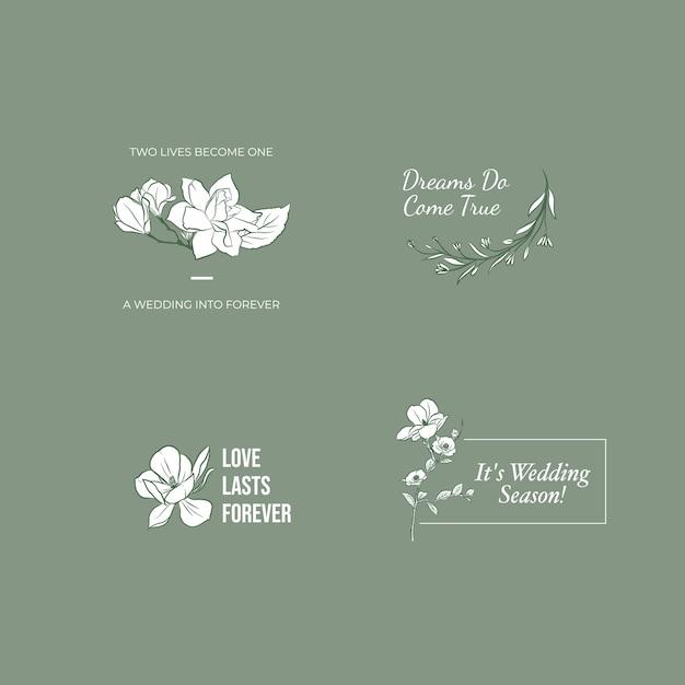Логотип со свадебной церемонией для брендинга и значка Бесплатные векторы