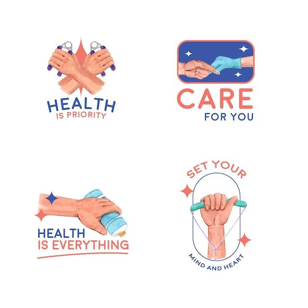 Logo con la giornata mondiale del diabete per il branding e l'icona dell'acquerello Vettore gratuito