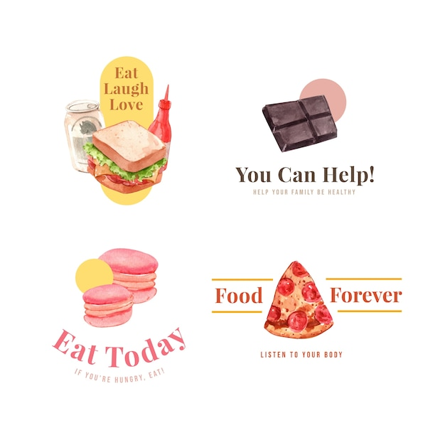 レストランとブランドの水彩画の世界食の日のコンセプトデザインのロゴ 無料ベクター