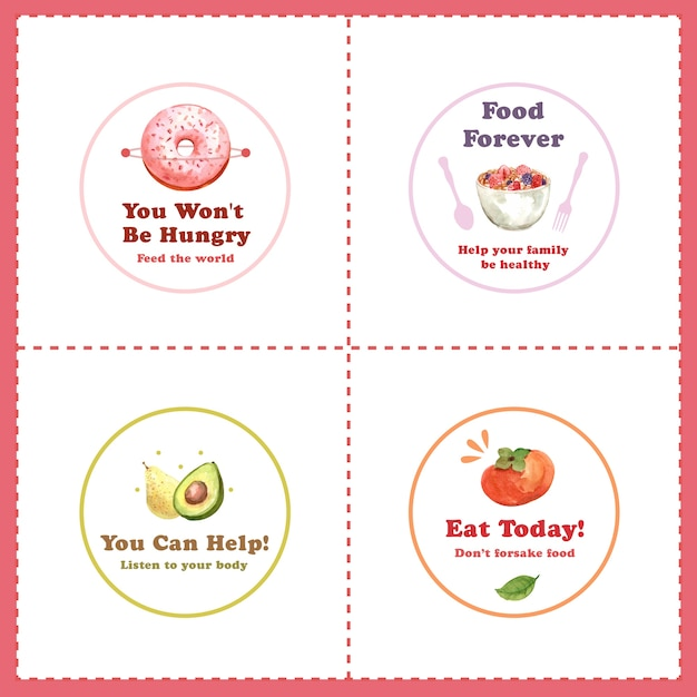 Логотип с концептуальным дизайном всемирного дня еды для ресторана и брендинговой акварелью Бесплатные векторы
