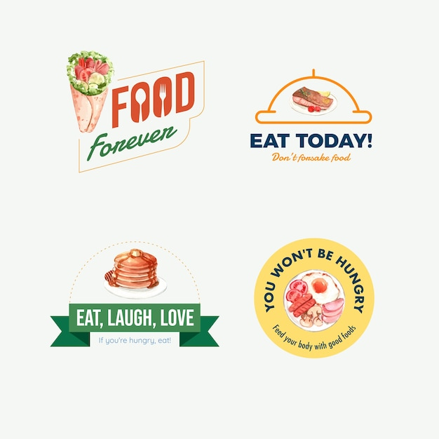 Logo with world food day concept design for restaurant and branding watercolor Free Vector