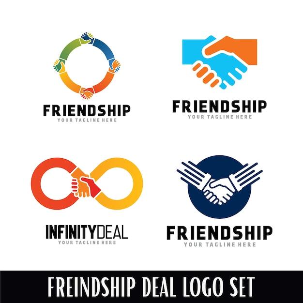 Набор шаблонов логотипов дружбы logo Premium векторы