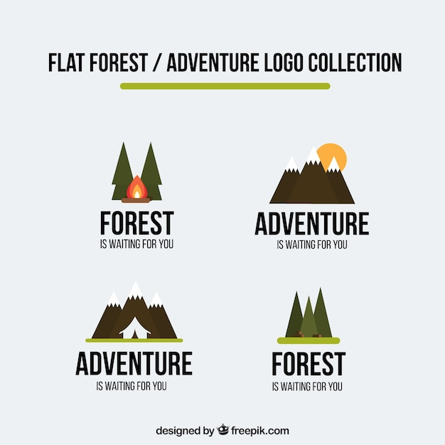 Logos adventure set in flat design