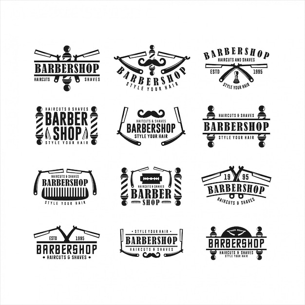 Logos barbershop style hair hair collections Premiumベクター