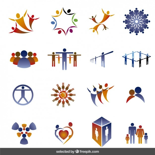 Logos Collection Made With People Silhouettes Vector