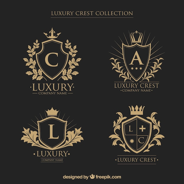 Logos collection of crests with initials in vintage style Free Vector