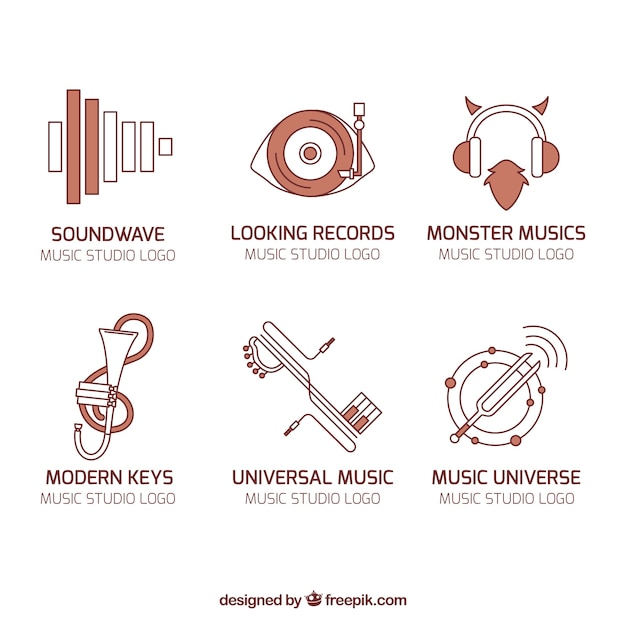 Modern Music Logo: Logos Collection Of Music In Modern Style Vector