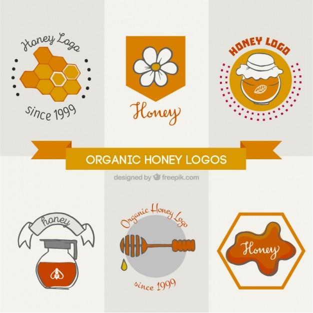 آرم برای عسل ارگانیک با عناصر دست کشیده
