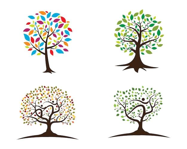 Logos of green tree leaf ecology Premium Vector