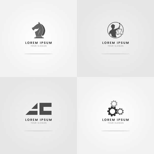 Logos for lawyers grayscale Premium Vector