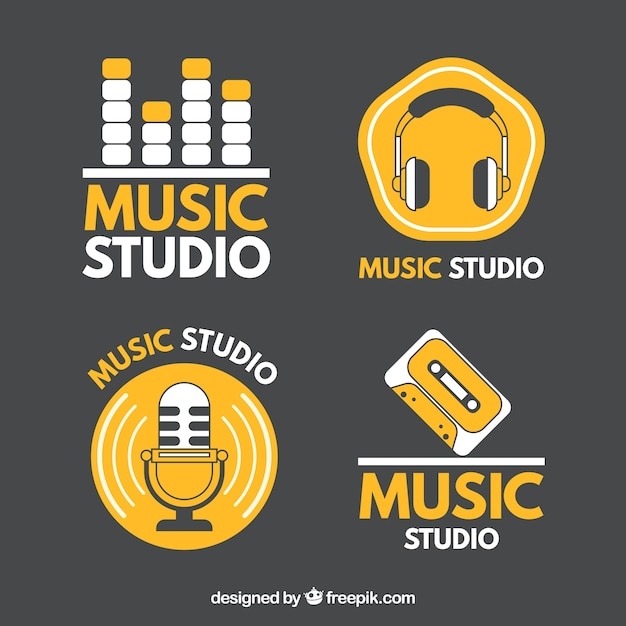 Logos for music studios Free Vector