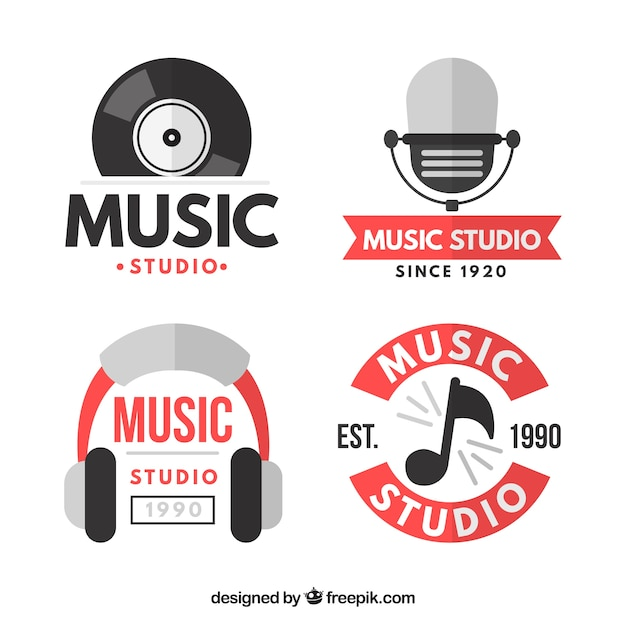 Logos for music themes Free Vector