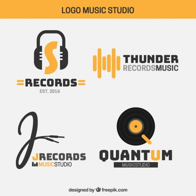 Logos of modern music studio Free Vector