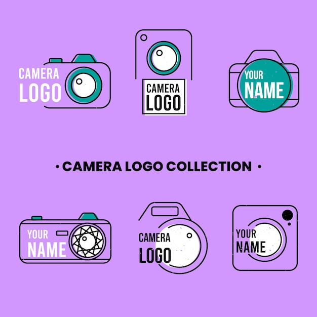 Logos pack of cameras in linear style