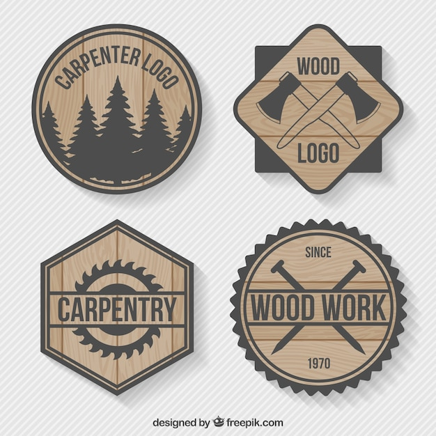 Logos pack of wood joinery Free Vector
