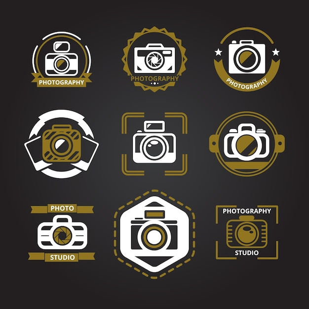 Logos for photographers set. Free Vector