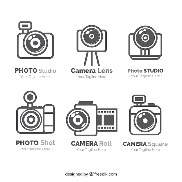 Logos of photography pack in linear style Free Vector