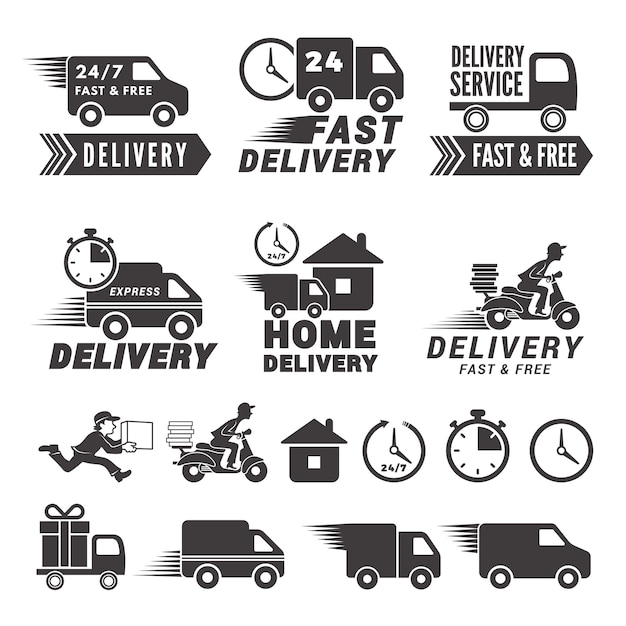 Logos set of fast delivery service. Premium Vector