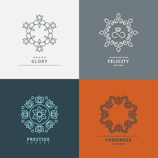 Modelli di loghi in stile con elementi floreali. simbolo del fiore di design, elegante ornato Vettore gratuito