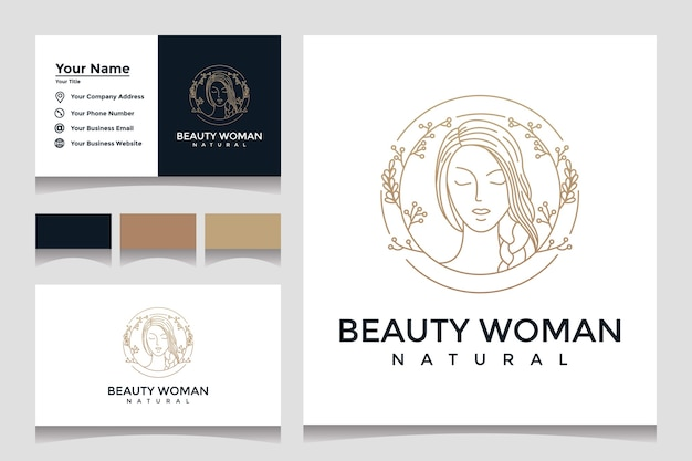 Logos with beautiful natural face line art style and business card designs. design concept for beauty salons and cosmetics. Premium Vector