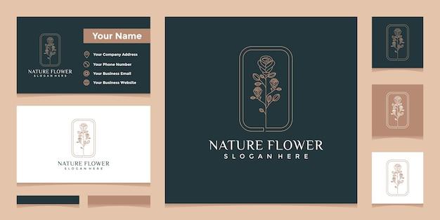 エレガントなナチュラルフローラルラインアートスタイルと名刺デザインのロゴ Premiumベクター